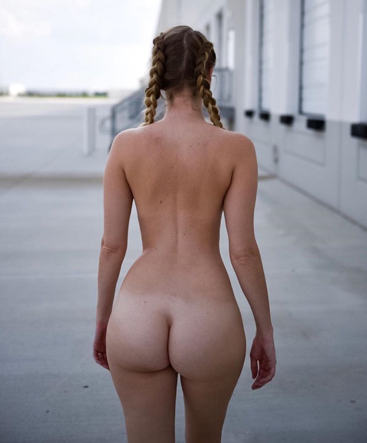 Naked white girl is very proud of her thick tiktok butt