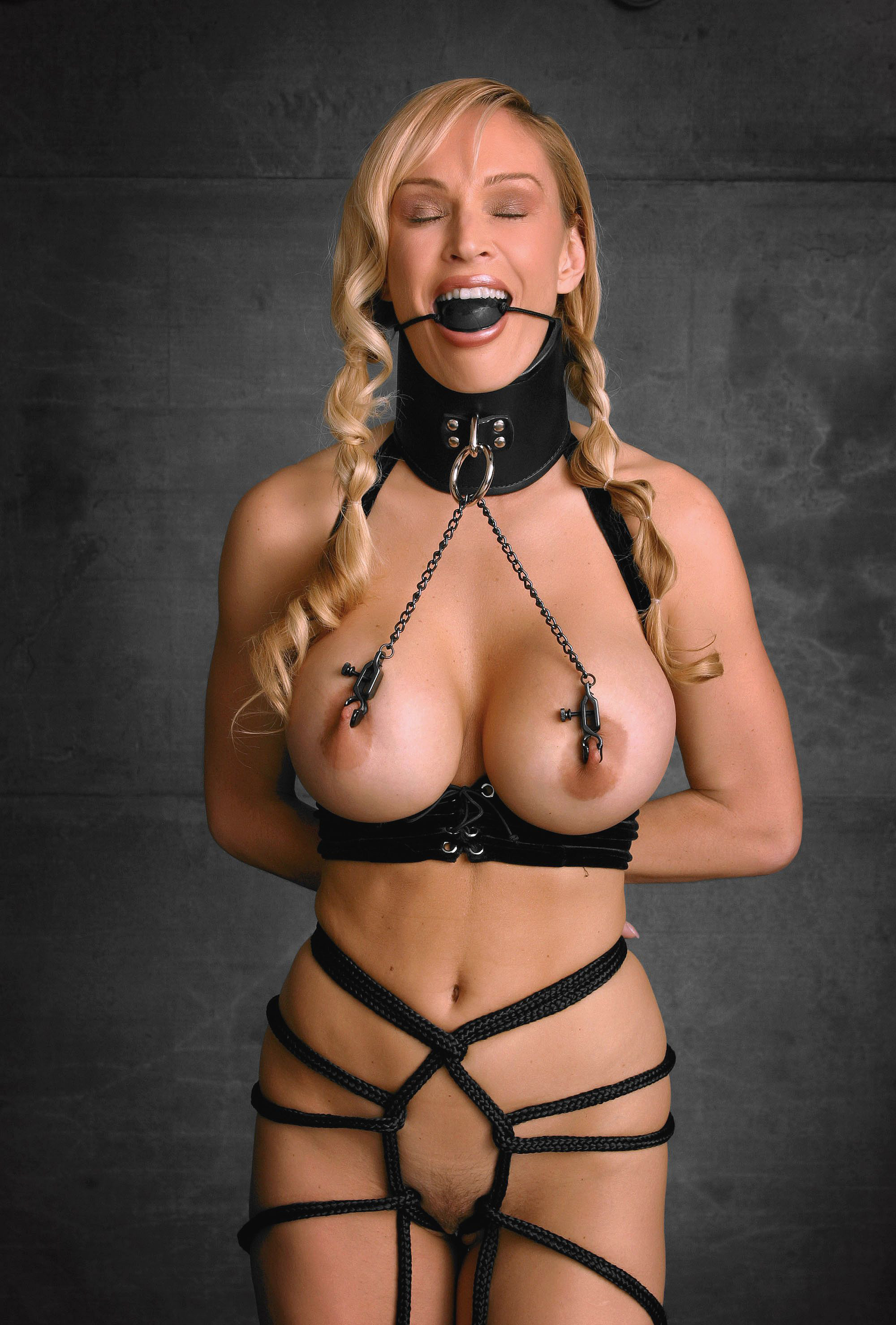 Erotic and stimulating breast bondage with neck collar
