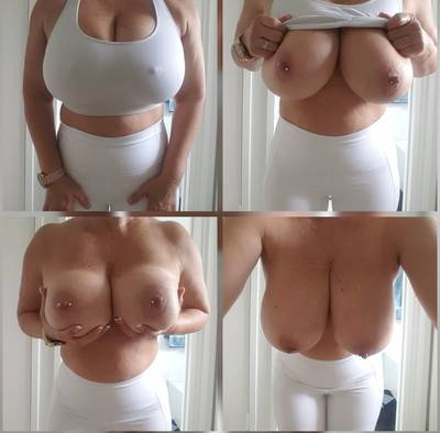 White Sport bra and leggings and of course my Boobs ..selfie collage 😋 xx 55yo [F] (OC) 🇦🇺