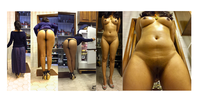(f)ully undressed in the kitchen, thong and upskirt