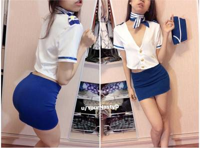 "Flight attendant cosplay, omg so fun! 📣 Ladies and gentlemen, please fasten your seatbelts, we are going to ""get off"" together!🔥"