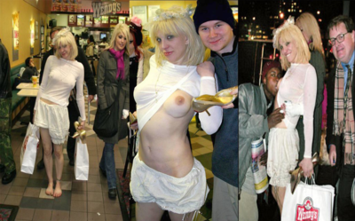 Courtney Love showing up at a Wendy's high, barefoot and braless, flashing people and letting a stranger suck her titty