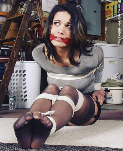 Cutie, cleave gag, rope, and nylon feet. This one has it all ;)