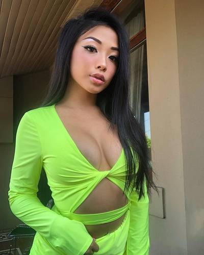 Lime green babe cleavage