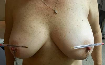 Balanced pens and nipple jewelry. (F49) ��