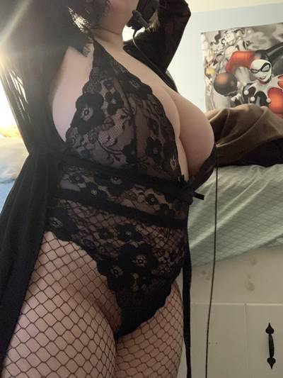 Fishnets, black lace, and a black robe. Combined, you get this (OC)