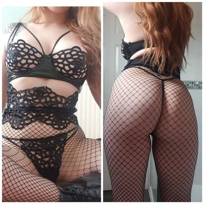 I love a fishnet and lingerie combo😈